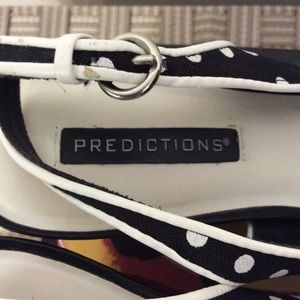 Predictions Shoes - Predictions Black and White Polka Dot Heel Sandals